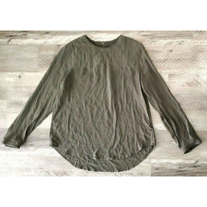 Madewell Womens Olive Green Silk Quilted Blouse L